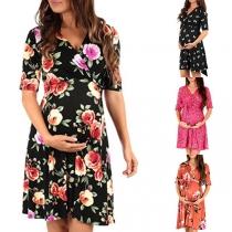Modern Zwangerschapsjurk met V-hals en Korte Mouwen