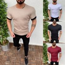 Modern T-shirt voor Heren met Contrasterende Kleuren Korte Mouwen en Ronde Hals