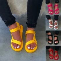 Moderne Sandalen met Effen Kleur Platte Hakken en Open Neuzen