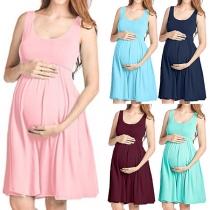 Modern Mouwloos Zwangerschapsjurk met Effen Kleur en Ronde Hals