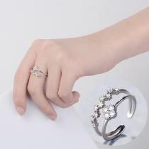 Moderne Dubbele ring van Aluminium met Ingelegd Strass
