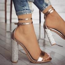 Sexy Schoenen met Dikke Hoge Hakken strass en Open Neuzen