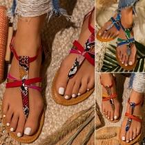Sandalen in Boheemse Stijl met Platte Hakken Slangenhuidpatroon