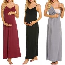 Sexy Zwangerschapsjurk met Vrije Rug V-hals Effen Kleur en Dragers