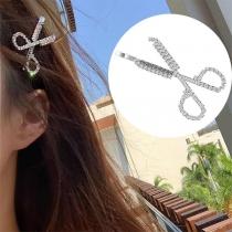 Moderne Haarspeld in Schaarvorm met Ingelegd Strass