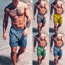 Modern Strandshorts voor Heren met Elastische Taille en Chic Patroon