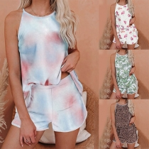 Fashion Tie-dye/Leopard Printed Sling Top + Shorts Nightwear Set