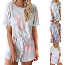 Fashion Tie-dye Printed Short Sleeve T-shirt + Shorts Nightwear Set