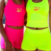 Fashion Letters Printed Sports Tank Top + Shorts two-piece Set