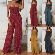 Sexy Backless High Waist Dots Printed Sling Jumpsuit