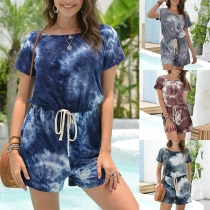 Fashion Short Sleeve Round Neck Tie-dye Printed Romper