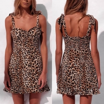 Sexy Backless V-neck Leopard Printed Sling Dress