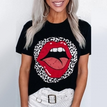 Chic Style Leopard Spliced Lip Pattern Short Sleeve T-shirt