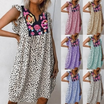 Fashion Printed Spliced V-neck Loose Leopard Dress