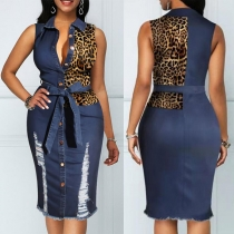 Fashion Leopard Spliced Sleeveless POLO Collar Ripped Denim Dress