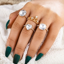 Fashion Rhinestone Inlaid Ring Set 4 pcs/Set
