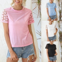 Fashion Lace Spliced Short Sleeve Round Neck Solid Color T-shirt