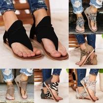 Moderne Sandalen met Platte Hakken en Luipaardpatroon