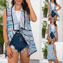 Moderne Mouwloze Kleurrijk Gestreepte Vest met Revers