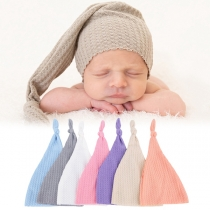 Moderne Gebreide Muts voor Baby's met Effen Kleur en Knoop