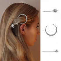 Moderne Haarspeldenset met Ingelegd Strass en Ster en Halve Maan Vorm 3 Stuks / Set