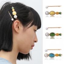 Haarspeldenset in Frisse Stijl met ingelegde Parels en Ananasvorm 2 Stuks / Set
