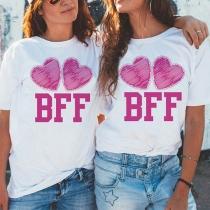Modern bedrukt T-shirt met Hartjesmotief Korte Mouwen en Ronde Hals