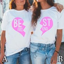 Modern Bedrukt T-shirt met Ronde Halslijn Hartjesmotief en Korte Mouwen