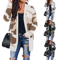 Modern Lang Vest met Camouflagepatroon en Lange Mouwen
