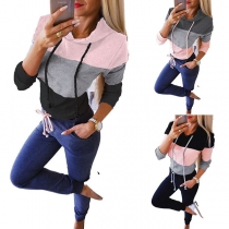 Fashion Contrast Color Long Sleeve Hooded