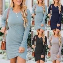 Sexy Solid Color Long Sleeve Round Neck Irregular Hem Slim Fit Dress