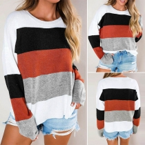 Fashion Contrast Color Long Sleeve Round Neck Knit Top