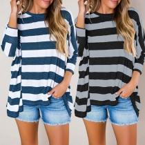 Fashion Long Sleeve Round Neck Loose Striped T-shirt