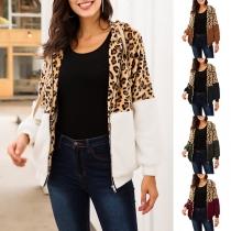 Fashion Leopard Spliced Long Sleeve Hooded Plush Coat