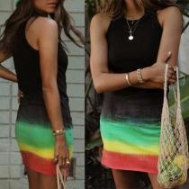 Fashion Sleeveless Round Neck Tie-dye Printed Tank Dress
