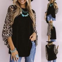Fashion Leopard Spliced Lantern Sleeve Round Neck T-shirt