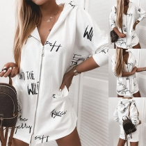 Fashion Long Sleeve Hooded Letters Printed Jacket