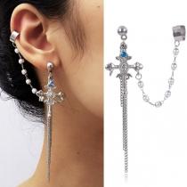 Retro Style Rhinestone Inlaid Cross Tassel Earrings