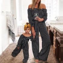 Sexy Gestreepte Jumpsuit voor Moeder en Dochter met Vrije schouders en Hoge Taille