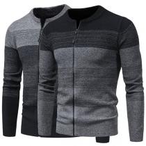 Modern Vest voor Heren met Contrasterende Kleuren Lange Mouwen en Ritssluiting