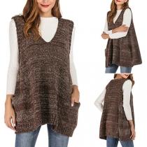Modern Mouwloos Gebreid Vest met Gemengde Kleuren en V-hals