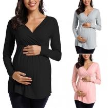 Modern Sweatshirt voor Zwangere Vrouwen in Effen Kleur met Lange Mouwen en V-hals