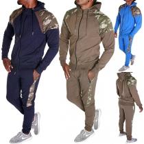 Modern Sportpak voor Heren met Capuchon Accenten met Camouflagepatroon en Lange Mouwen