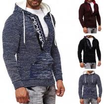 Moderne Hoodie voor Heren met Capuchon Gemengde Kleuren en Lange Mouwen
