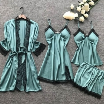 Sexy Vierdelige Nachtkledingset in Effen Kleur met Kanten Design