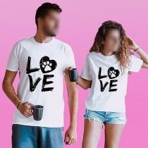Modern met Letters bedrukt T-shirt met Korte Mouwen en Ronde Hals