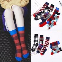 Moderne Sokken in Contrasterende Kleuren met Chic Patroon 2 Paar/Set