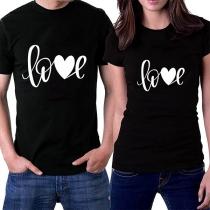 Modern Bedrukt T-shirt voor Koppels met Korte Mouwen en Ronde Hals