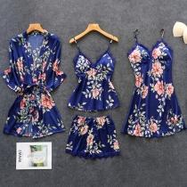 Sexy Vierdelige Nachtkledingset met Kanten Design bestaande uit een Topje met Bandjes + Shorts + Nachthemd met Bandjes + Badjas (Geen elastiek)