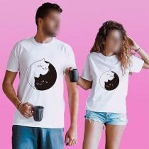 Leuk T-shirt voor Stellen met Kattenmotief Korte Mouwen en Ronde Hals